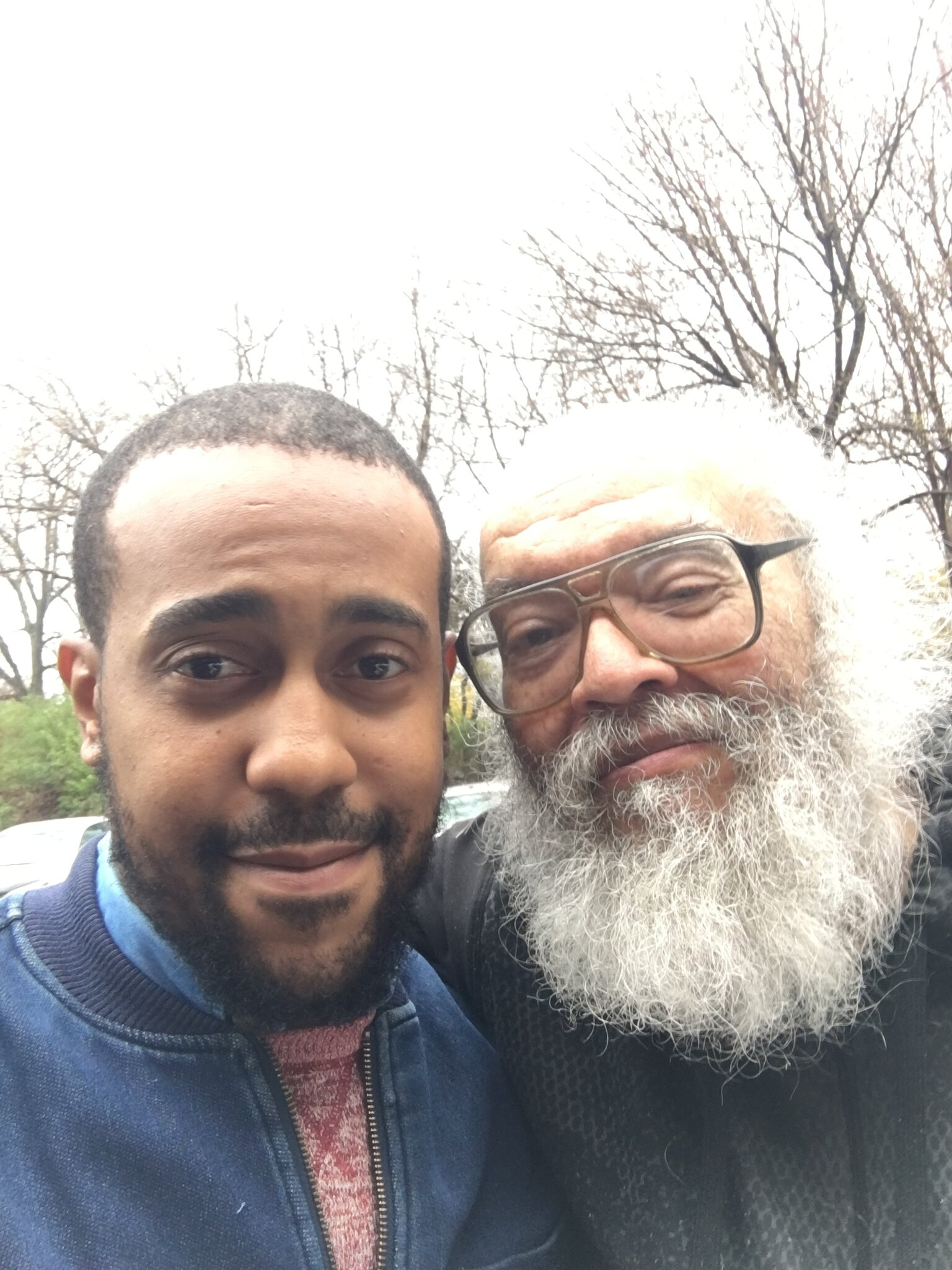 The author Charles R. Saunders, right, in 2019 with Taaq Kirksey, who has been working to develop a television series based on Mr. Saunders's books about a warrior hero named Imaro.